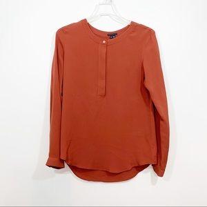 Theory 100% Silk Rust Brick Orange Long Sleeve Top